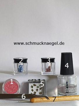 Produkte für das Motiv mit Keramik-Blumen und Glitter Pulver - Keramik-Blumen, Getrocknete Blätter, Glitter-Pulver, Spot-Swirl, Klarlack