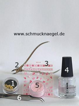 Produkte für das Fingernageldesign mit Nailart Perlenkette - Nailart Perlenkette, Nail Sticker, Glitter-Pulver