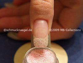 Glitter-Pulver in der Farbe rosa