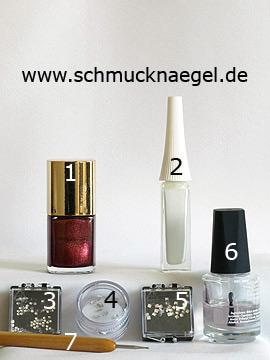 Produkte für das Motiv 'Dekorierte Fingernägel mit Strasssteinen' - Nagellack, Nailart Liner, Strasssteine, Spot-Swirl