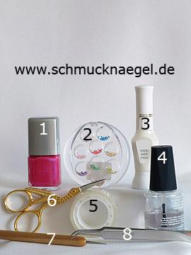 Produkte für das Nailart Motiv mit Halbperlen und Nagellack - Nagellack, Halbperlen, Nailart Pen, Spot-Swirl