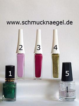 Produkte für das Fingernagel Motiv mit Glitter Nagellack - Nagellack, Nailart Liner