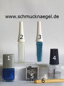 Produkte für das Motiv für Fingernägel mit Strasssteinen in kristall - Nagellack, Nailart Liner, Strasssteine, Spot-Swirl