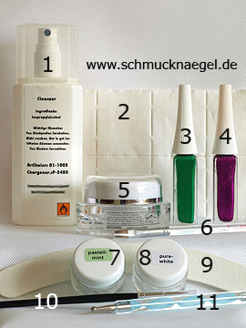 Produkte für das Motiv für Fingernägel mit Farbgel in mint - Nailart Liner, Reiniger (Dispersionsschicht), Zellstoff-Tupfer, Versiegelungsgel, Farbgel, Nagelfeile, Spot-Swirl