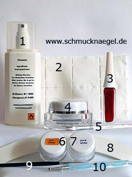 Produkte für das Fingernagel Motiv mit UV Farbgel - Reiniger (Dispersionsschicht), Zellstoff-Tupfer, Versiegelungsgel, Farbgel, Nagelfeile, Spot-Swirl