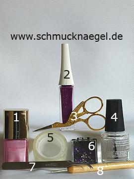 Produkte für das Motiv mit Nagellack in rosa und Strasssteinen - Nagellack, Nailart Liner, Strasssteine, Spot-Swirl