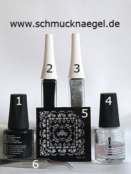 Produkte für das Motiv mit Nailart Sticker für French Motiv - Nagellack, Nailart Liner, Nail Sticker