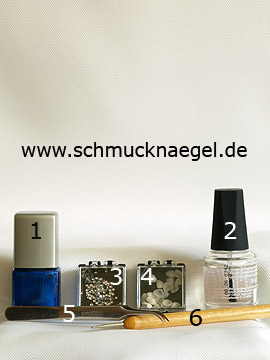 Produkte für das Nailart mit Muscheln und Strasssteinen - Nagellack, Strasssteine, Meeres-Muscheln, Spot-Swirl