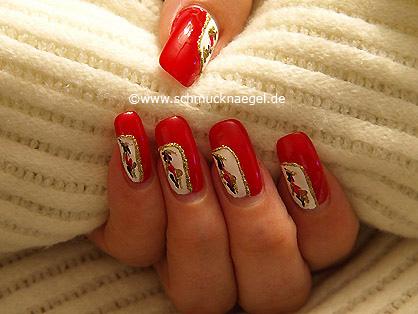 Fingernagel Motiv mit Nailart Pens und Nagellack