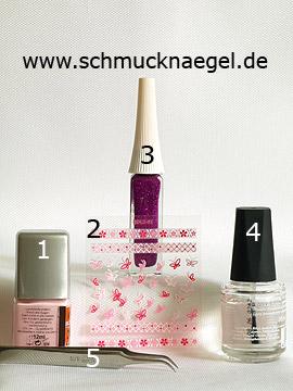 Produkte für das Motiv mit 3D Nail Sticker und Nailart Liner - Nagellack, 3D Nail Sticker, Nailart Liner