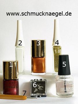Produkte für das Motiv mit Strasssteine und Nagellacke für die Nägel - Nagellack, Nailart Liner, Strasssteine, Spot-Swirl