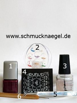 Produkte für das Motiv mit Nailart Sticker und Halbperlen - Nagellack, Halbperlen, Nail Sticker, Spot-Swirl