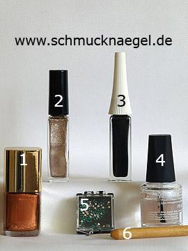 Produkte für das Herbstmotiv mit Strasssteinen - Nagellack, Nailart Liner, Strasssteine, Spot-Swirl