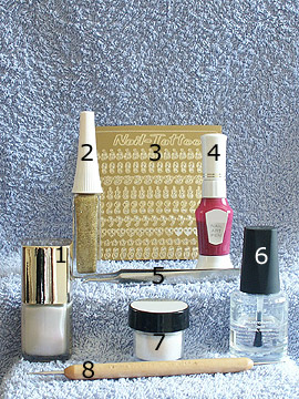 Produkte für perlmutt Glitter Design - Nagellack, Glitter-Pulver, Nail-Tattoos, Nailart Liner, Nailart Pen, Spot-Swirl, Klarlack