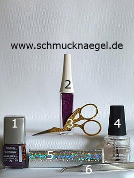 Produkte für das Motiv mit Hologramm-Folie und Nailart Liner in pink-glitter - Nagellack, Nailart Liner, Hologramm-Folie