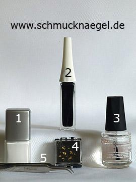 Produkte für das Fingernagel Motiv mit Blattgold und Nagellack - Nagellack, Nailart Liner, Blattgold