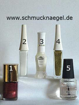 Produkte für das French Motiv mit Nagellack in kupfer - Nagellack, Nailart Pen, Nailart Liner