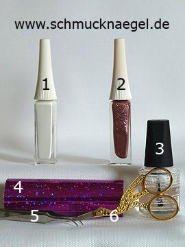 Produkte für das Motiv mit Nailart Liner in altrosa und Hologram-Folie in pink - Nailart Liner, Hologramm-Folie