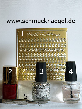 Produkte für das Valentinstag Motiv mit Glitterlack in silber - Nail-Tattoos, Nagellack, Glitterlack