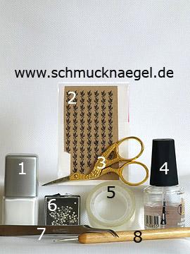 Produkte für das Motiv mit Nail-Tattoos und Strasssteine - Nagellack, Nail-Tattoos, Strasssteine, Spot-Swirl