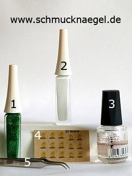 Produkte für das Ostermotiv mit Nail-Tattoo und Nailart Liner - Nailart Liner, Nail-Tattoos