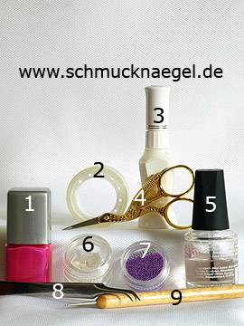 Produkte für das French Motiv mit Halbperlen und Nailart Bouillons - Nagellack, Nailart Pen, Halbperlen, Nailart Bouillons, Spot-Swirl