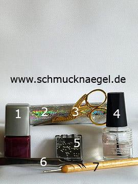 Produkte für das Motiv mit Hologramm-Folie und Strasssteine - Nagellack, Hologramm-Folie, Strasssteine, Spot-Swirl