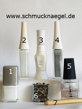 Produkte für das Hochzeit French Motiv mit Strasssteinen - Nagellack, Nailart Liner, Nailart Pen, Strasssteine, Spot-Swirl