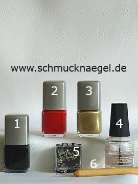 Produkte für das Nailart 'Deutsche Nationalflagge als Fingernagel Motiv' - Nagellack, Strasssteine, Spot-Swirl