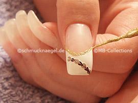 Nailart Liner in der Farbe gold-glitter, Klarlack, Pinzette und sternförmiger Strassstein