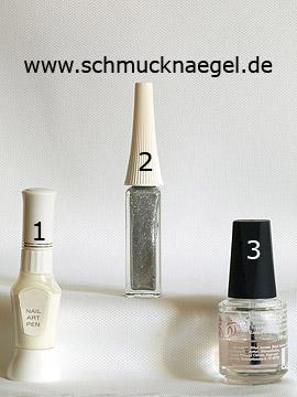 Produkte für das French Motiv mit Nailart Pen und Nailart Liner - Nailart Liner, Nailart Pen