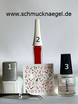 Produkte für das Motiv 'Musiknoten als Fingernageldesign' - Nagellack, Nailart Liner, Nail Sticker, Strasssteine