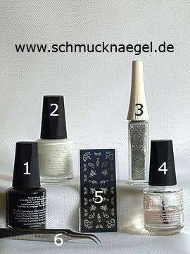 Produkte für die Dekoration der Nägel mit Nailart Sticker - Nagellack, Nailart Liner, Nail Sticker