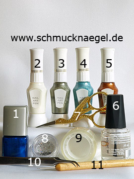 Produkte für das Motiv mit Pailletten und verschiedene Nailart Pens - Nagellack, Nailart Pen, Pailletten, Spot-Swirl