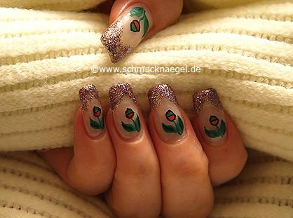 Fingernagel Motiv mit multi-glitter