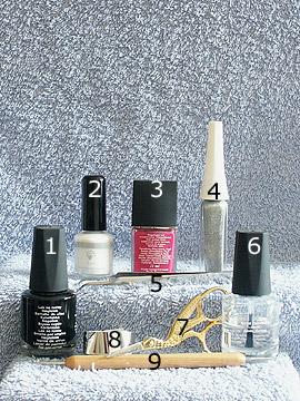 Produkte für das Design mit Metallic-Folie - Nagellack, Metallic-Folienkleber, Metallic-Folie, Nailart Liner, Klarlack