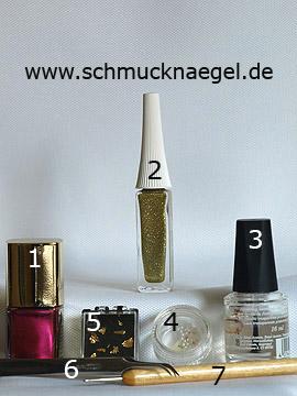Produkte für das Motiv 'Dekorierte Fingernägel mit Blattgold' - Nagellack, Nailart Liner, Halbperlen, Blattgold, Spot-Swirl