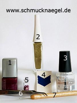 Produkte für die Fingernagel Dekoration mit Pailletten - Nagellack, Nailart Liner, French Maniküre Schablonen, Pailletten, Spot-Swirl