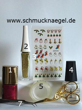Produkte für die Nikolaussocke als Motiv für die Fingernägel - Nagellack, Nailart Liner, Weihnachtssticker