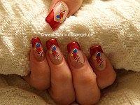 Nikolaussocke als Motiv für die Fingernägel