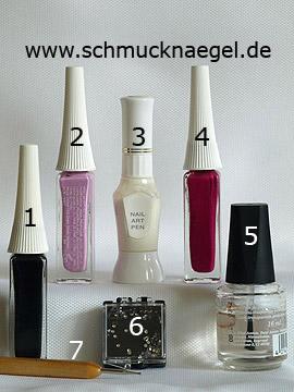 Produkte für 'Nailart Liner für ein French Fingernagel Motiv' - Nailart Liner, Nailart Pen, Strasssteine, Spot-Swirl