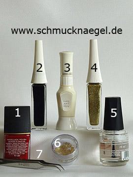 Produkte für das Silvester Motiv für Glück und Reichtum - Nagellack, Nailart Liner, Nailart Pen, Einlegemotive