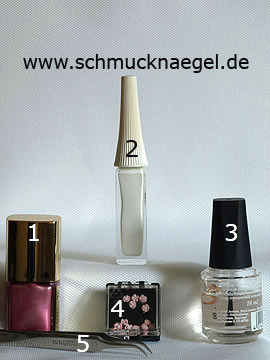 Produkte für das Fingernagel Motiv mit Keramik-Blume - Nagellack, Nailart Liner, Keramik-Blumen