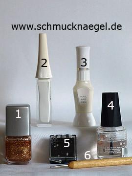 Produkte für das Fingernagel Motiv in kupfer-glitter und weiß - Nagellack, Nailart Liner, Nailart Pen, Strasssteine, Spot-Swirl