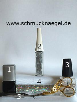 Produkte für das Motiv mit Hologramm-Folie und Nailart Liner in silber-glitter - Nagellack, Nailart Liner, Hologramm-Folie