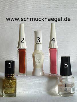 Produkte für das Nailart Motiv mit Nagellack in gold-glitter - Nagellack, Nailart Liner, Nailart Pen