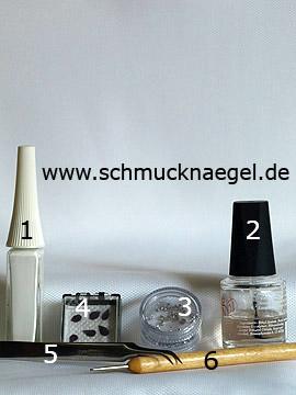Produkte für das Design 'Getrocknete Blütenblätter für ein Nailart Motiv' - Nailart Liner, Strasssteine, Getrocknete Blütenblätter, Spot-Swirl