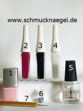 Produkte für das Fingernagel Motiv mit Pailletten - Nagellack, Nailart Liner, Pailletten, Spot-Swirl