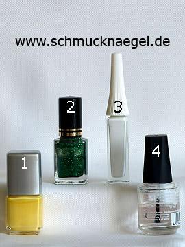 Produkte für das Motiv mit Osterzweig als Dekoration der Fingernägel - Nagellack, Glitterlack, Nailart Liner