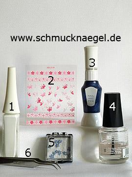 Produkte für das Motiv 'Getrocknette Blume und 3D Schmetterling Sticker' - Nailart Liner, 3D Nail Sticker, Nailart Pen, Getrocknete Blumen